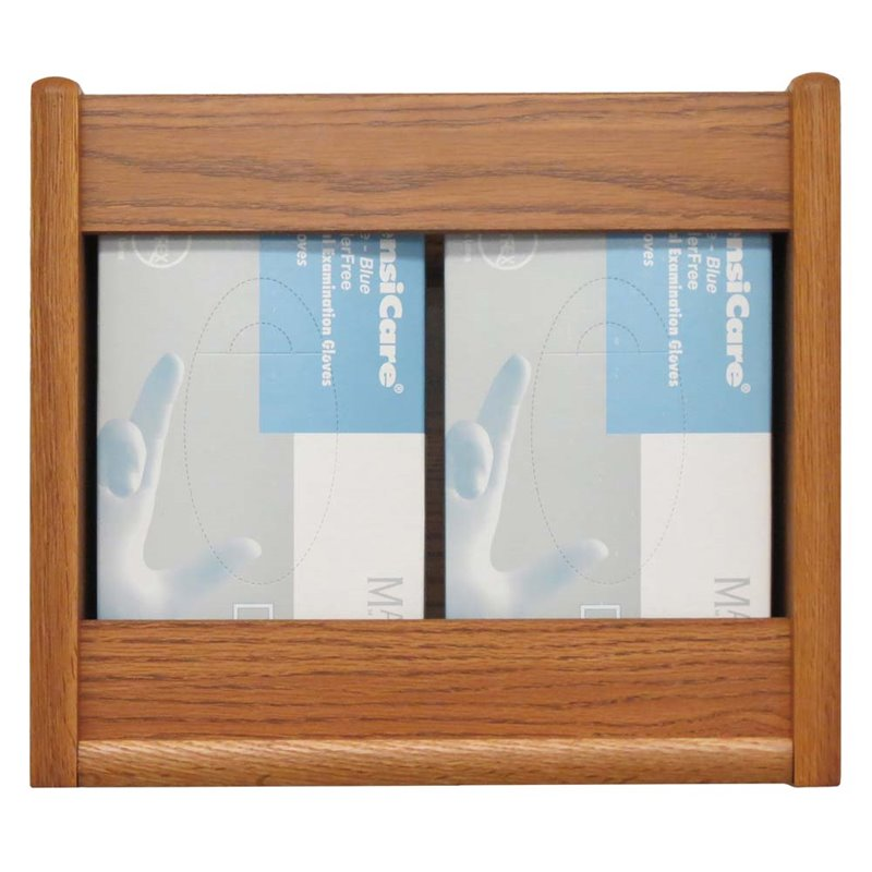 Wooden Mallet 2 Pocket Glove and Tissue Box Holder in Medium Oak