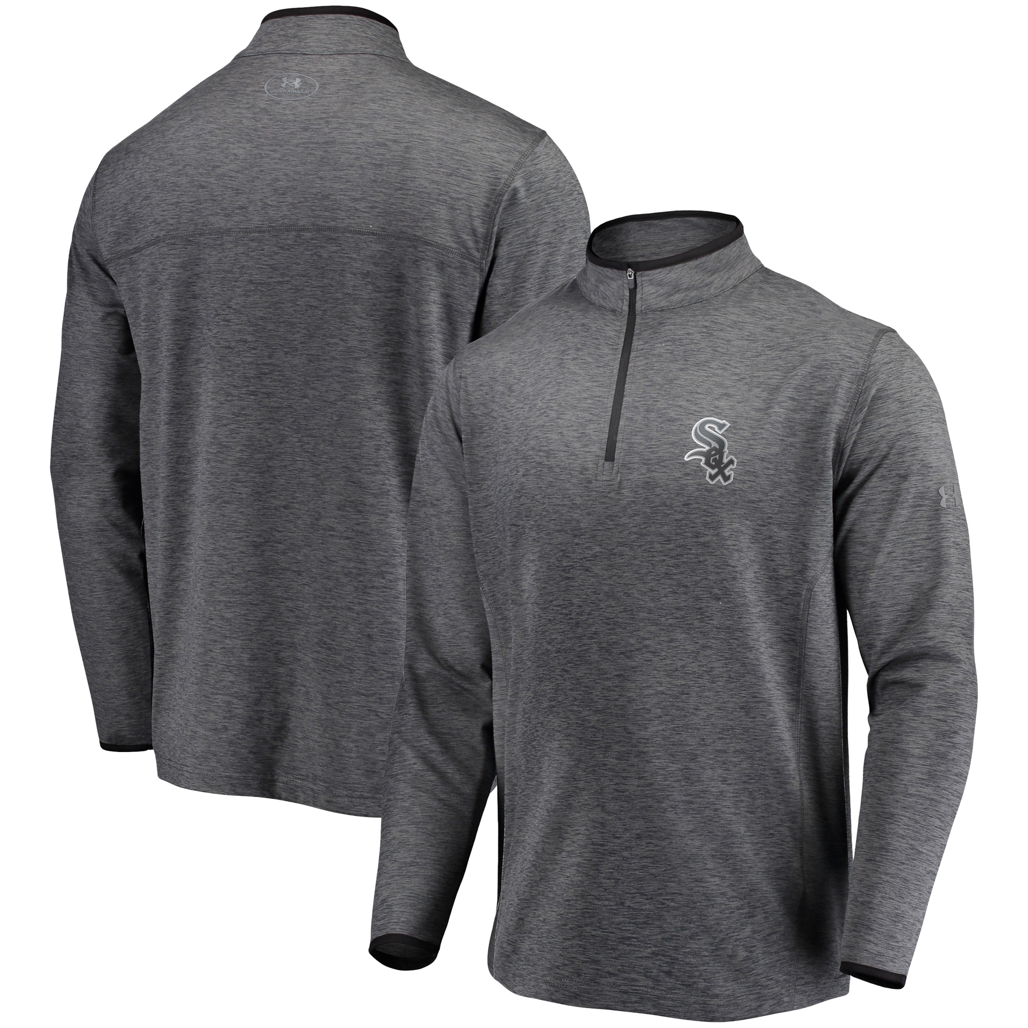Chicago White Sox Under Armour Stretch Reflective Logo Performance Quarter-Zip Pullover Jacket - Heathered Charcoal