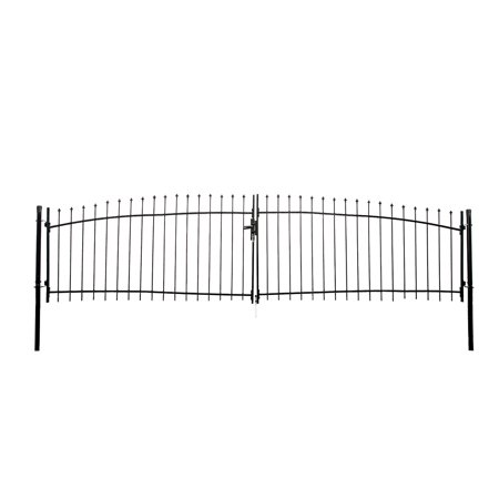 ALEKO DIY Arched Steel Dual Swing Driveway Gate Kit with Lock - ATHENS Style - 15 x 5
