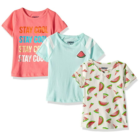 Graphic Cross Neck, Print and Varsity Stripe Tees 3-Pack (Little Girls & Big