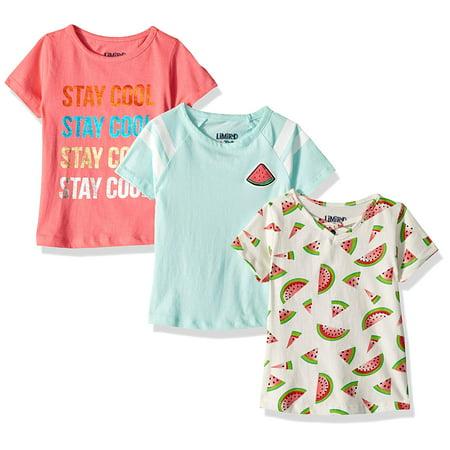 Girls Square Neck - Graphic Cross Neck, Print and Varsity Stripe Tees 3-Pack (Little Girls & Big Girls)