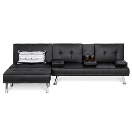 Best Choice Products Faux Leather Upholstery 3-Piece Modular Modern Living Room Sofa Sectional Furniture Set with Convertible Double Futon Bed, Single-Seat Futon, and Footstool, Reclining Backrests ()
