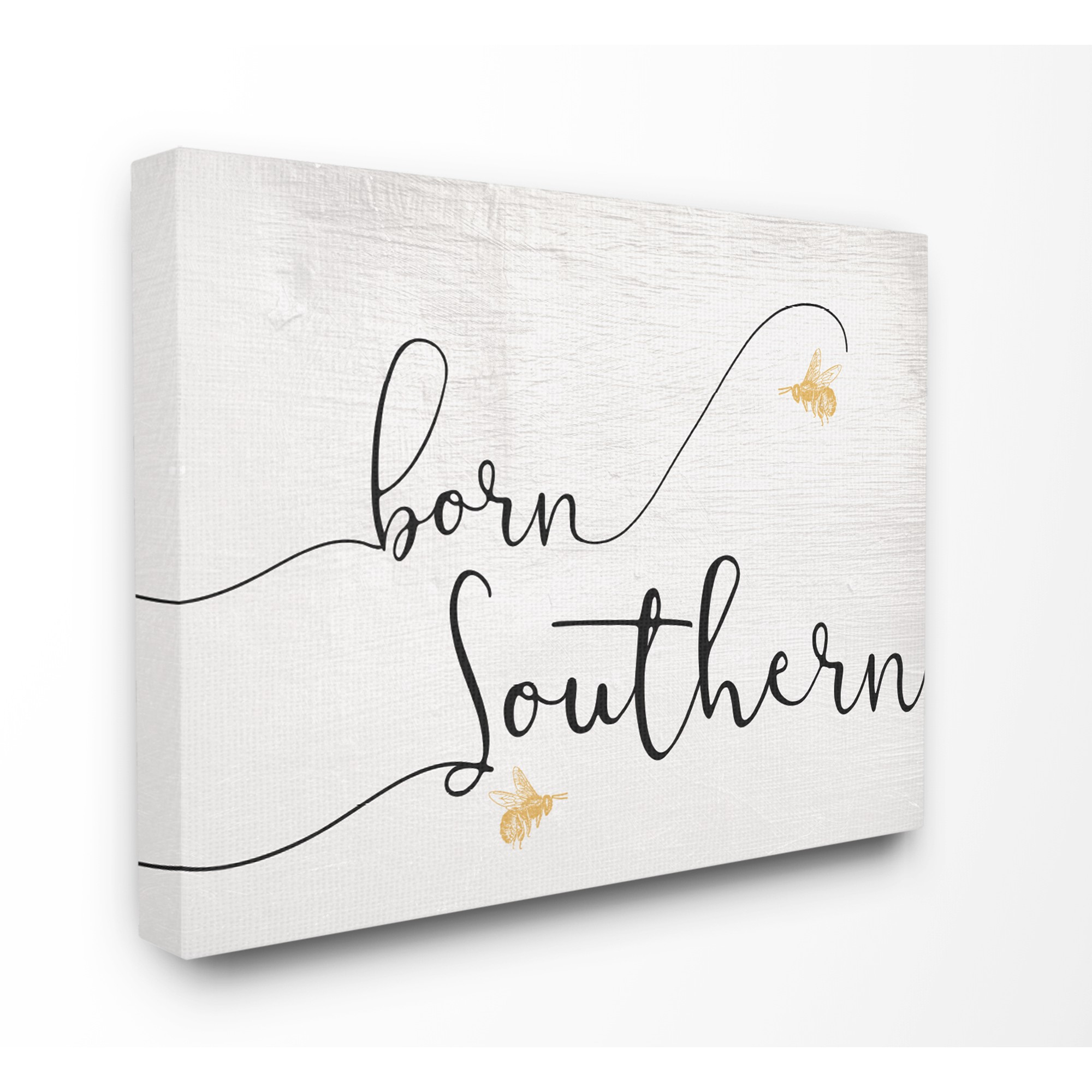 The Stupell Home Decor Collection Born Southern Yellow Bees Script Typography Oversized Stretched Canvas Wall Art, 24 x 1.5 x 30