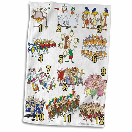 3dRose Twelves Days Christmas Song Cartoon - Towel, 15 by 22-inch](Halloween Cartoon Songs)