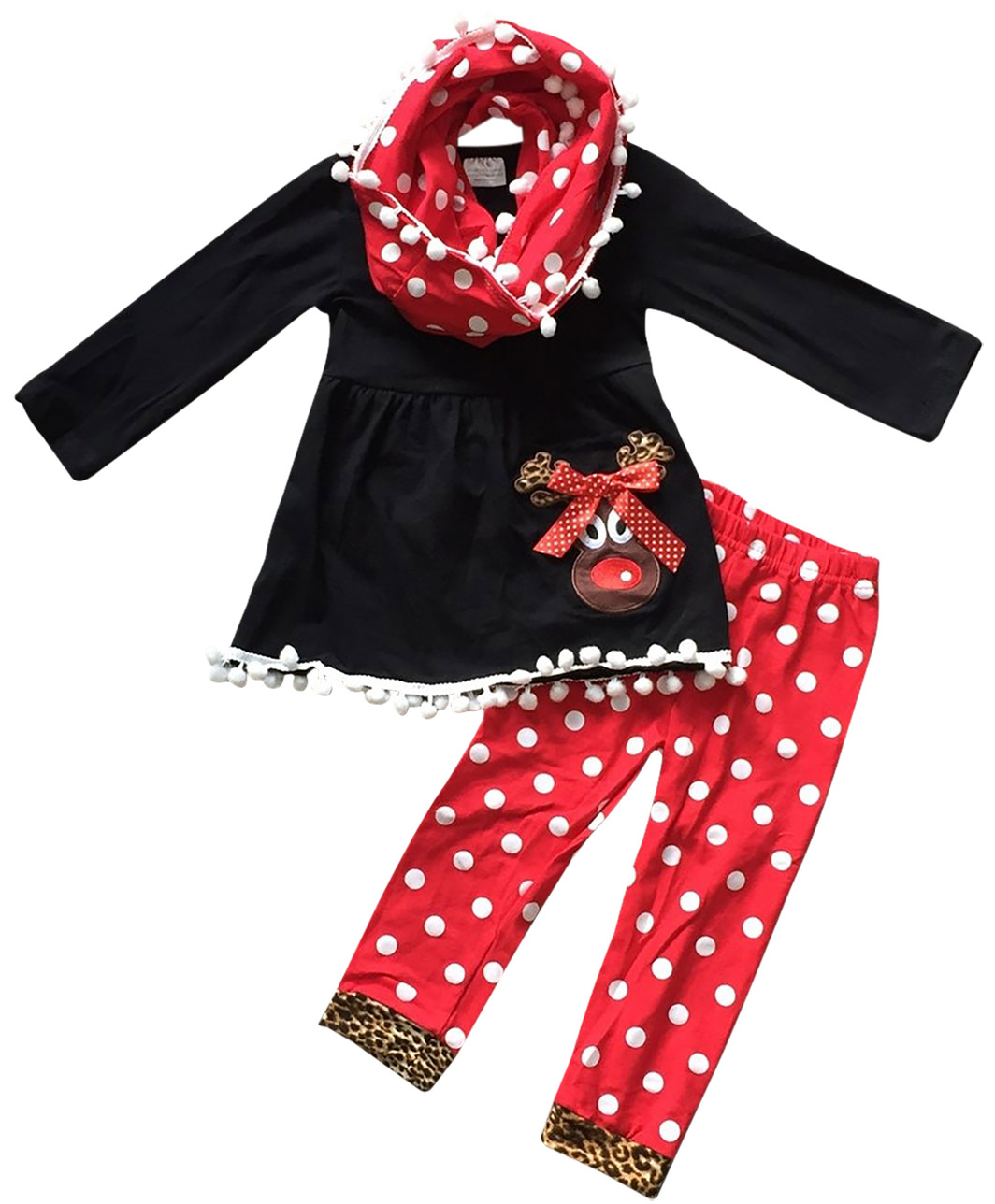 Toddler Girls 3 Pieces Set Reindeer Christmas Polka Outfit Top Scarf Pant Set Black Red 2T XS (P500244P)