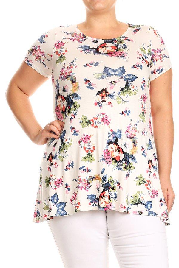 Women's PLUS Trendy Style Short Sleeves Print Top