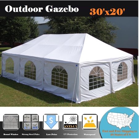 30'x20' PVC Frame Tent Wedding Party Canopy Shelter White - Storage Bags Included - By DELTA