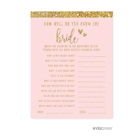 How Well Do You Know The Bride?  Blush Pink Gold Glitter Print Wedding Bridal Shower Game Cards, - Bridal Shower Giveaways