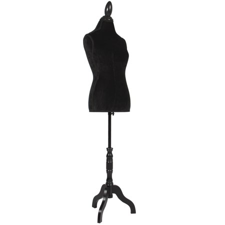 Best Choice Products Female Mannequin Torso Display w/ Wooden Tripod Stand, Adjustable Height - Black