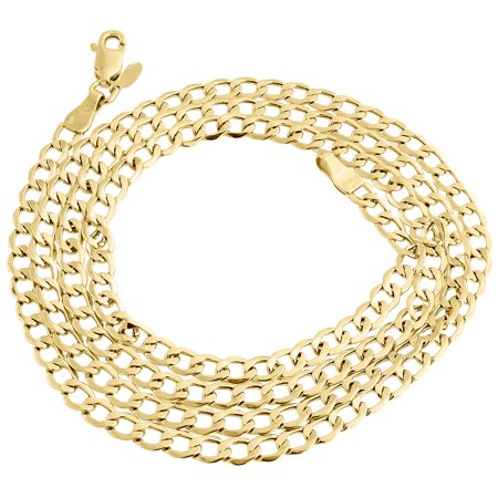 Mens Hollow 10K Yellow Gold 4MM Cuban Curb Link Chain Necklace 16 Inches