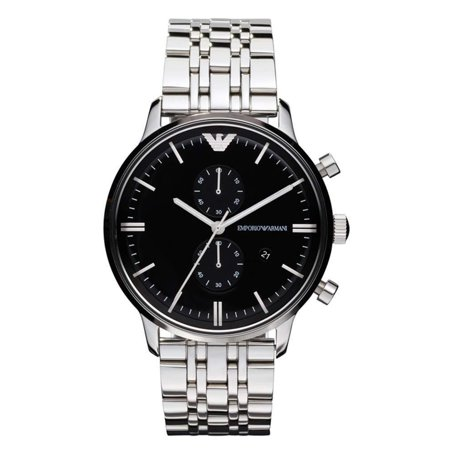 Emporio Armani Stainless Steel Watch (Emporio Armani Men's Classic Chronograph Stainless Steel Black Dial Watch AR0389)