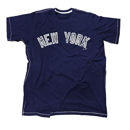 Men's Majestic Threads Navy New York Yankees Contrast Stitch Tri-Blend T-Shirt