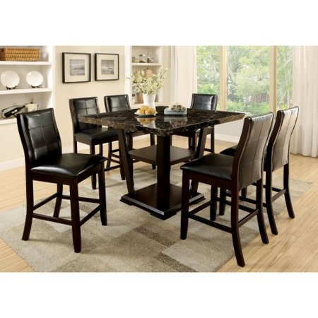 Furniture Of America Newrock 7 Piece Counter Height Faux Marble Dining Table