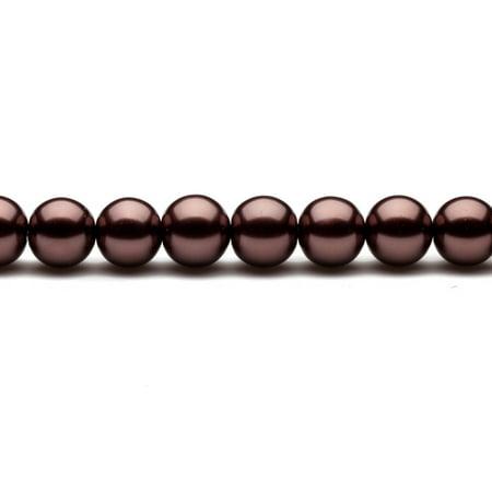 12mm Round Metallic-Tone Bole Glass Pearls 16Inch Sting 38-Bead Count
