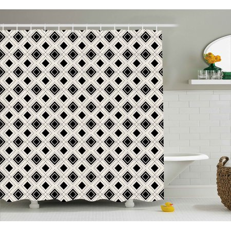 Geometric Shower Curtain Triangles Squares And Dots Cropped Lines Futuristic Modern Image Artwork Fabric