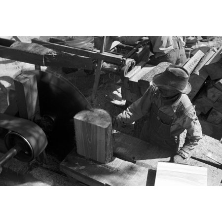 Texas Saw Mill 1939 Na Worker Using A Circular Saw To Make Roof Shingles From Pine Logs At A Small Saw Mill Near Jefferson Texas Photograph By Russell Lee April 1939 Rolled Canvas Art -  (24 x