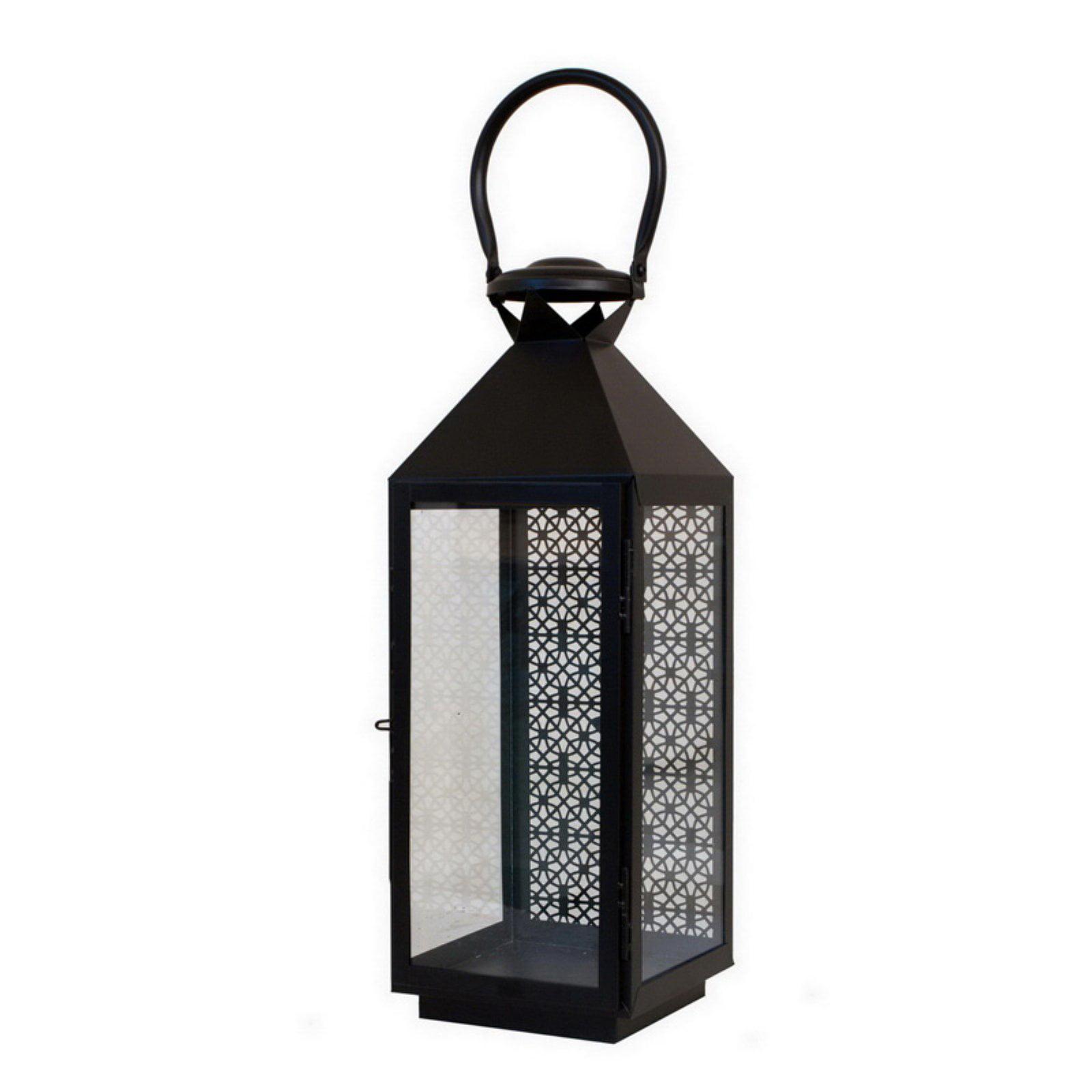 Benzara 32208 Astounding Pierced Metal Glass Lantern
