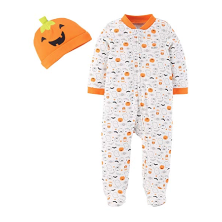 Carter's Just One You Neutral Baby Halloween Pumpkin Ghost Print Sleep N' Play- Orange/White (9 Months)