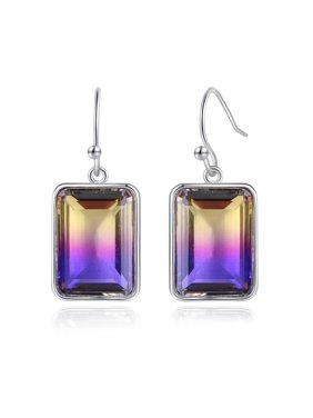 Peermont Emerald Cut Ametrine Drop Earrings in Silver Rhodium Overlay