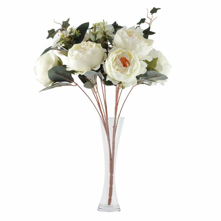 BalsaCircle 12 Silk Peonies with Rose Buds and Hydrangea Flowers - 2 Bushes - Party Wedding Arrangements Centerpieces Bouquets Bush Pink Flowers