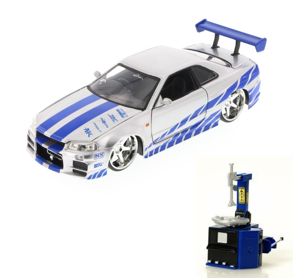 Diecast Car & Tire Station Package Fast & Furious Brian's Nissan Skyline GT-R, Candy... by ModelToyCars