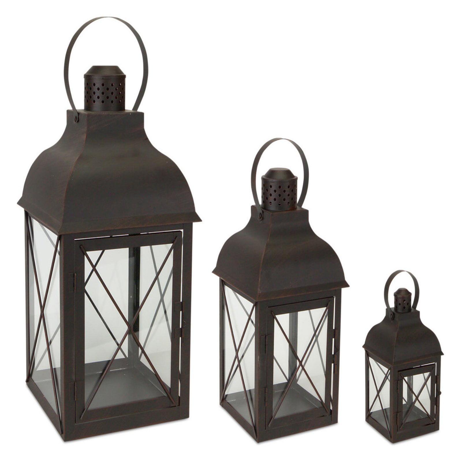 Melrose International Metal and Glass Lantern - Set of 3