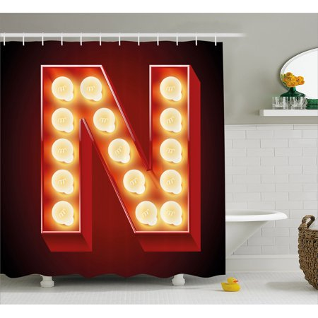 Letter N Shower Curtain, Old Fashioned Movie Theater Carnival Casino Entertainment Night Life, Fabric Bathroom Set with Hooks, 69W X 84L Inches Extra Long, Vermilion Yellow Black, by - Casino Night Decor