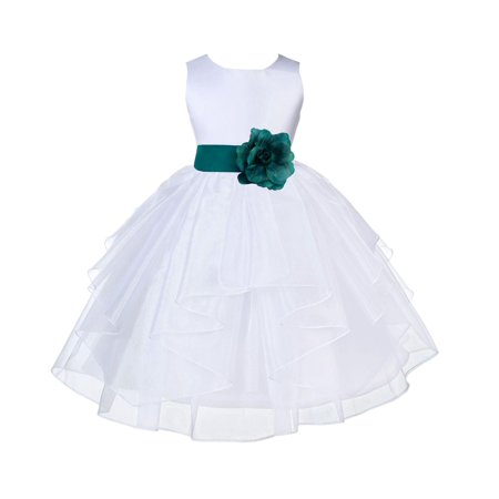 Ekidsbridal White Oasis Shimmering Organza Christmas Junior Bridesmaid Recital Easter Holiday Wedding Pageant Communion Princess Birthday Clothing Baptism 4613T size 4 Flower Girl Dress