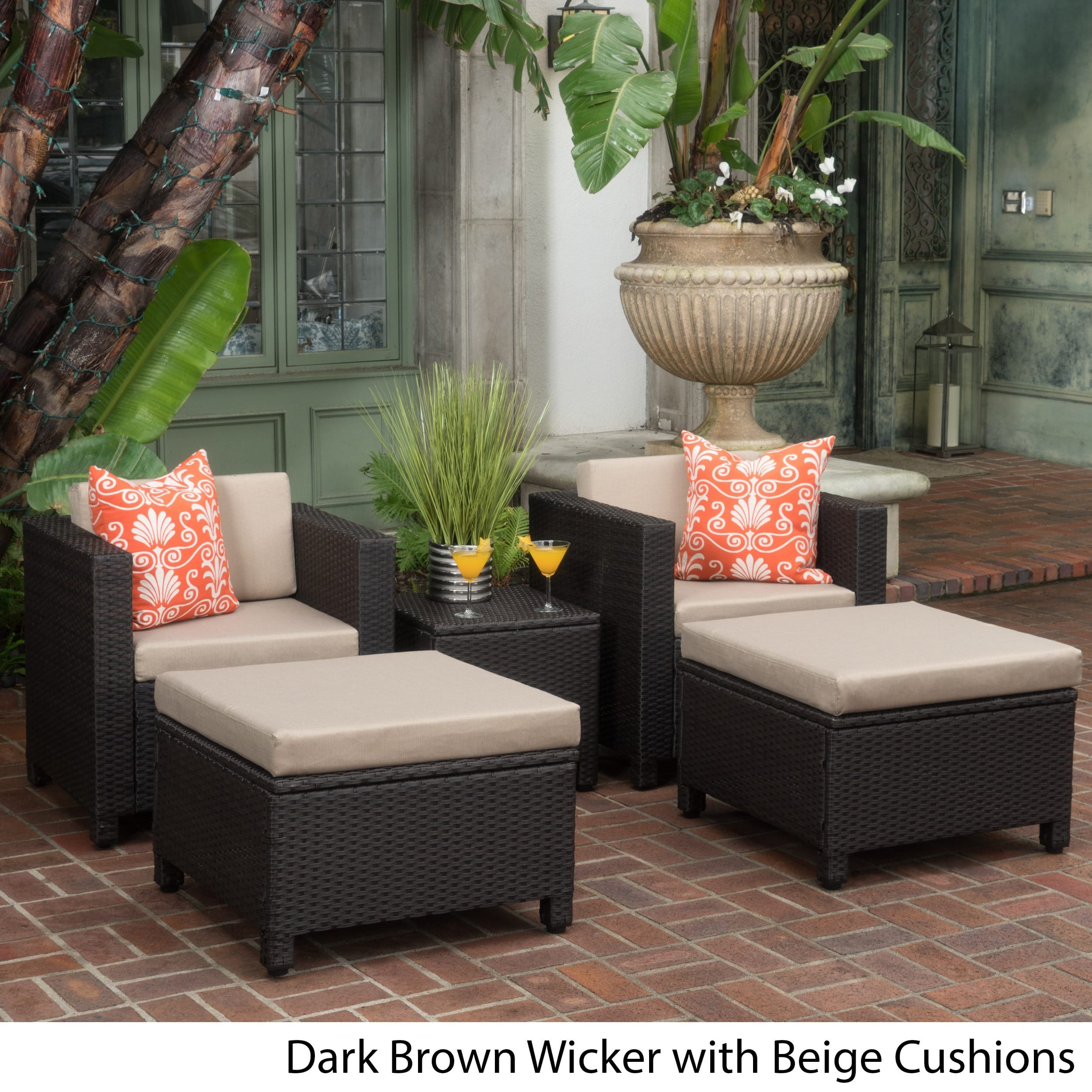 Christopher Knight Home Puerta 5-piece Outdoor Wicker Chat Set with Water Resistant Cushions by