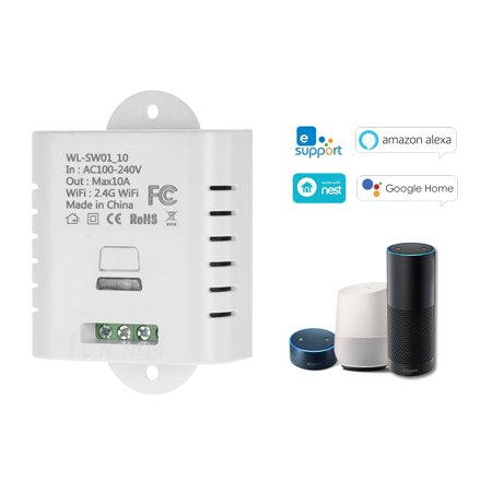 WIFI Smart Switch 10A Wireless Light Timer Switch Phone APP Remote Control Compatible with Amazon Alexa & for Google Home Voice Control Home Automation
