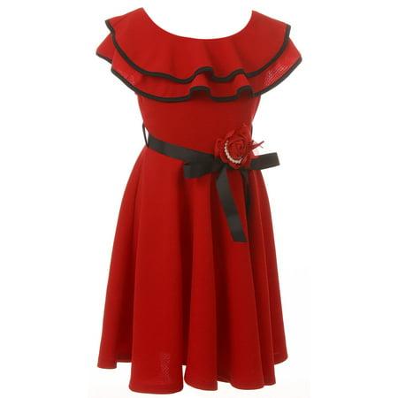 Little Girl Sleeveless Ruffle Shoulder Graduation Wedding Flower Girl Dress USA Red 4 JKS 2128 BNY Corner (Girls Red Flower Girl Dress)