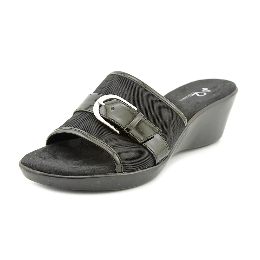 A2 By Aerosoles Eyes On You Women W Open Toe Canvas Black Wedge Sandal by A2 By Aerosoles