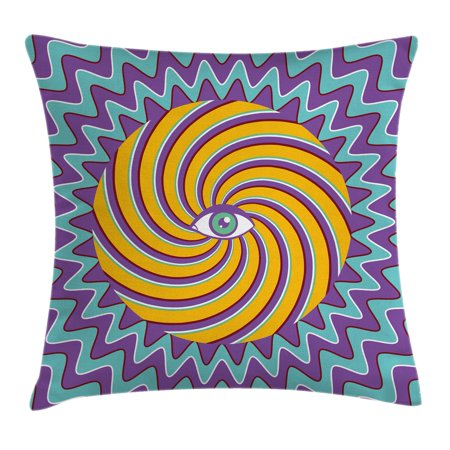 - Vintage Decor Throw Pillow Cushion Cover, Third Eye Symbol inside Hypnotic Spiral Circles Trippy Lines Mystic Hippie Boho, Decorative Square Accent Pillow Case, 16 X 16 Inches, Multi, by Ambesonne