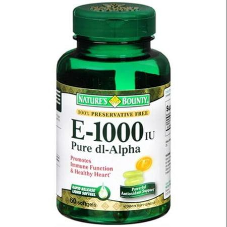 Nature's Bounty La vitamine E 1000 UI Gélules pur DL-Alpha 60 Gels mous (Pack de 6)