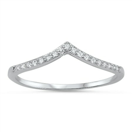 Sterling Silver Women's Flawless Colorless Cubic Zirconia Micro Pave Chevron Ring (Sizes 4-10) (Ring Size