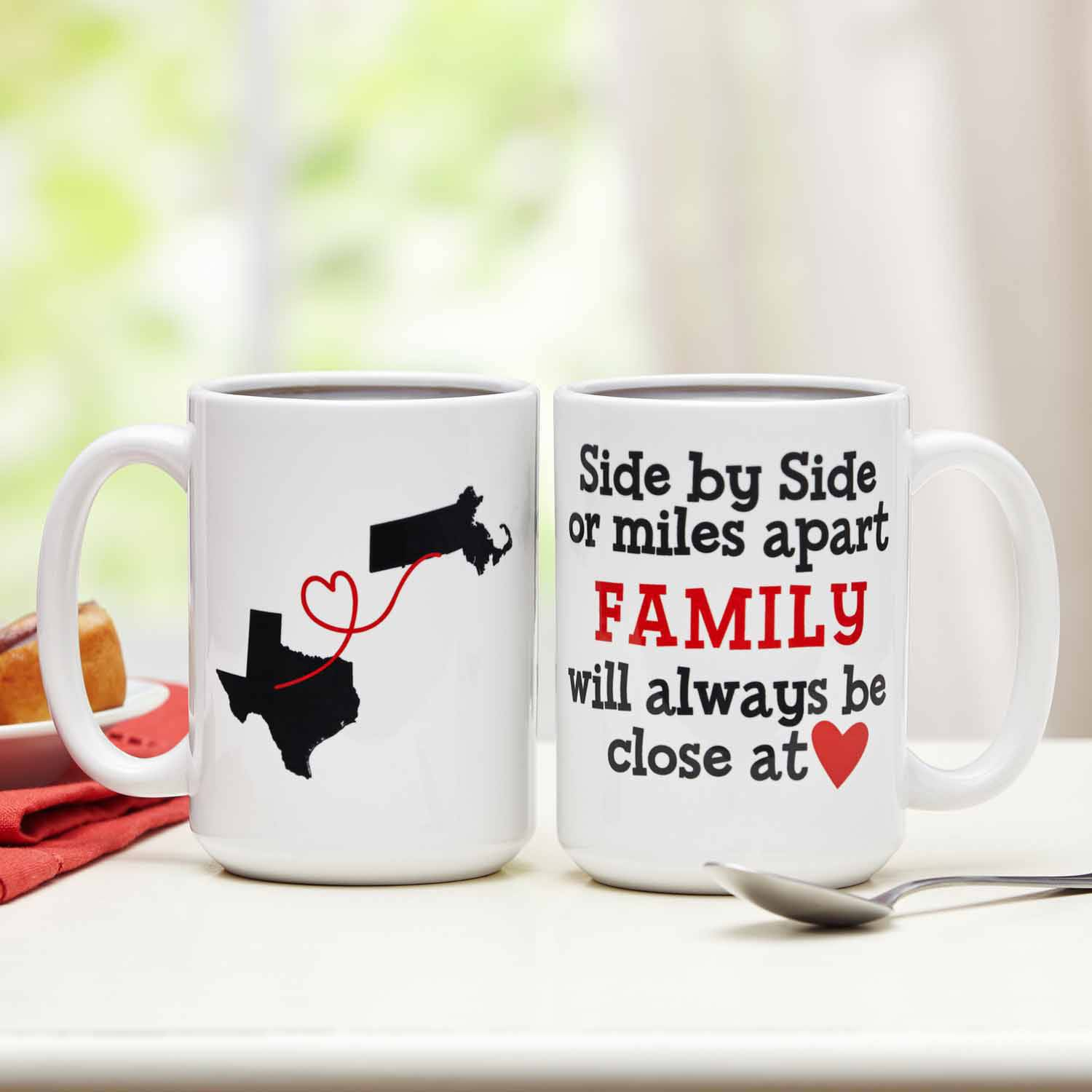 Personalized Miles Apart, Together at Heart 15oz Coffee Mug