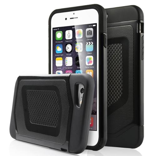 ULAK 2 in 1 Shields Bumper Hybrid Protective Case Cover for Apple iPhone 6S 6 4.7 Inch(Black+Black)