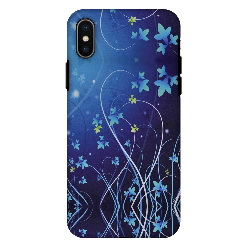 iPhone X Case, Premium Heavy Duty Dual Layer Handcrafted Designer Case ShockProof Protective Cover with Screen Cleaning Kit for iPhone X - Midnight Lily, Flexible TPU, Hard Shell