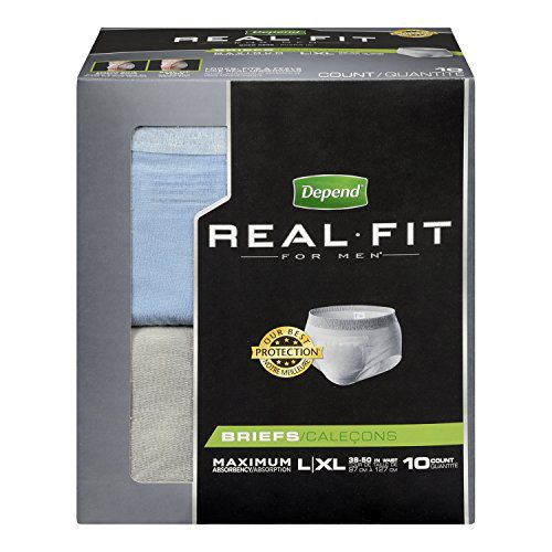 Depend Real Fit Briefs for Men '' Large/X-Large, Waist 38 - 50 , Bag of 10'' 6 Pack