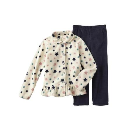 Infant & Toddler Girls Outfit White Fleece Star Print Shirt & Blue Pants Toddler Girls Fleece Outfit