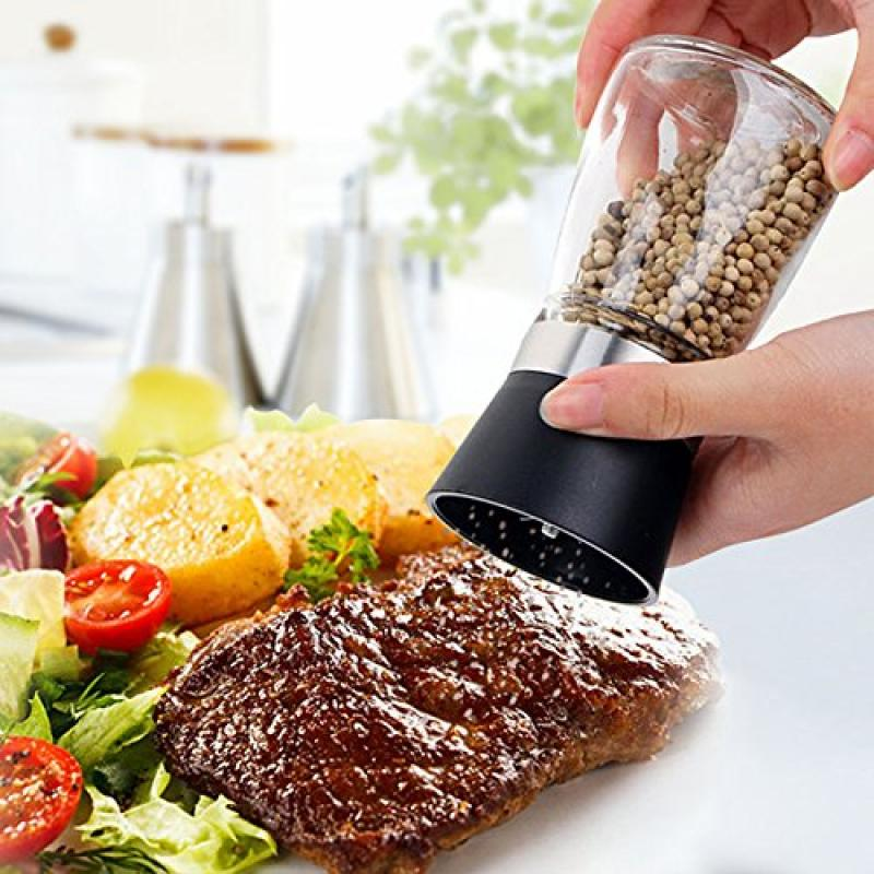 Kitchen Cruet Salt Pepper Grinder Mill Seasoning Glass Jar Squeezing Grinder Muller by Unbranded