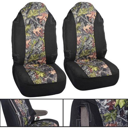 Camo High Back Seat Covers For Truck 2pc Black And Camo