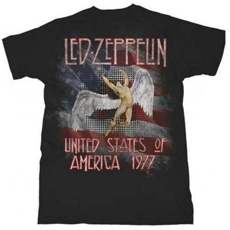 Live Nation Lnm Lz145 Xl Led Zeppelin Men S America 1977 T Shirt   Black   Xl