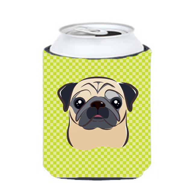 Checkerboard Pink Fawn Pug Can Or Bottle Hugger, 12 Oz. - image 1 of 1