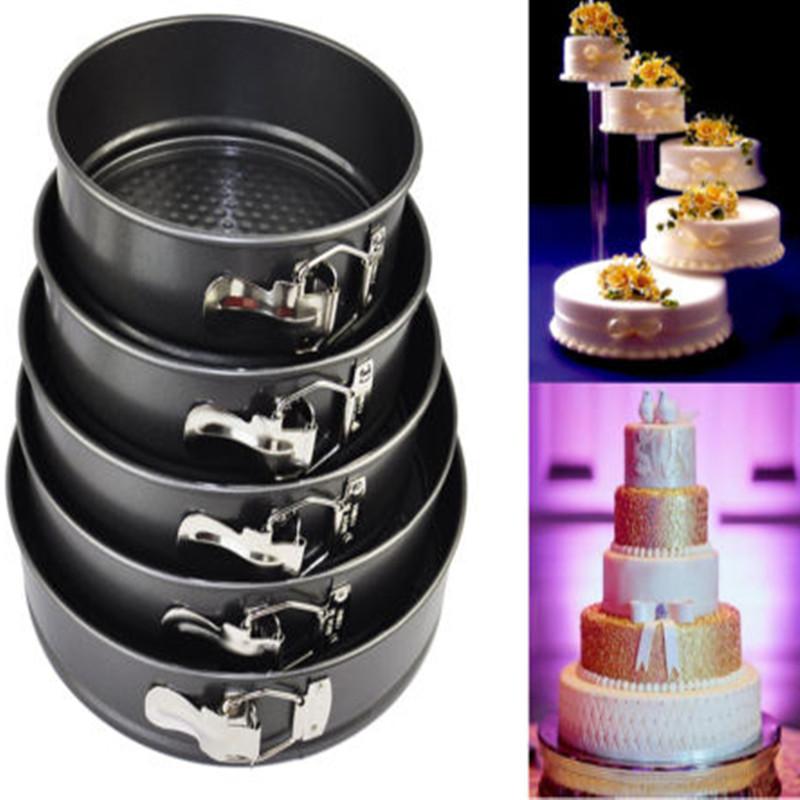 SET OF 3 ROUND CAKE TIN NON STICK SPRING FORM LOOSE BASE BAKING PAN TRAYS