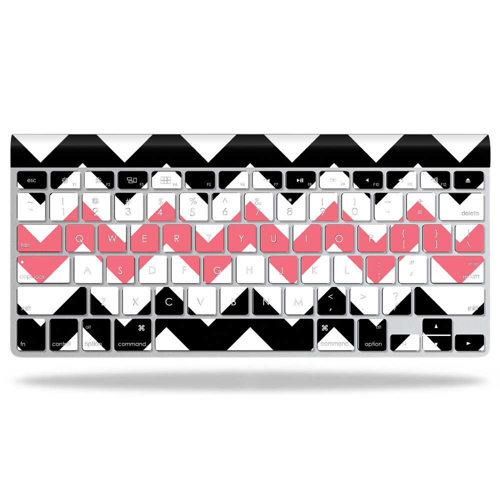 MightySkins Protective Vinyl Skin Decal for Apple Wireless Keyboard wrap cover sticker skins Black Pink Chevron