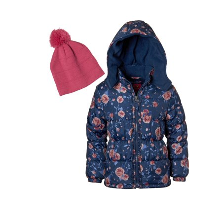 Floral Print Puffer Coat Jacket with Hat, 2-Piece Set