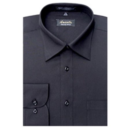 Image of Amanti CL1002-16x32/33 Amanti Men's Wrinkle Free Solid Black Dress Shirt