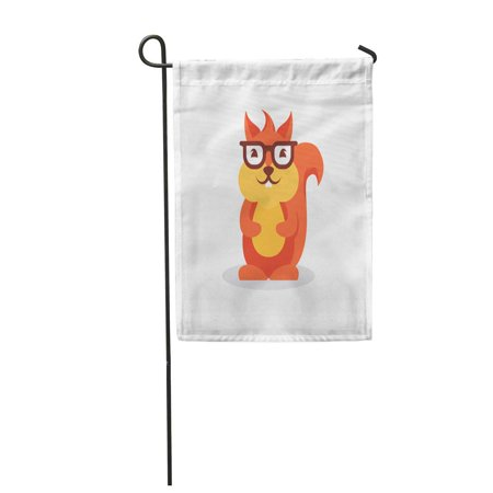 Glass Squirrel (KDAGR Red Glasses Squirrel Acorn Autumn Cartoon Cute Flat Garden Flag Decorative Flag House Banner 12x18 inch )