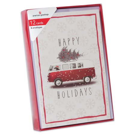 American Greetings 12-Count Dog Driving Bus with Christmas Tree Boxed Cards with White Envelopes ()